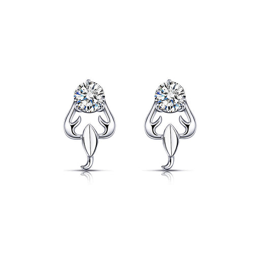 925 Sterling Silver Twelve Horoscope Scorpio Stud Earrings with White Cubic Zircon