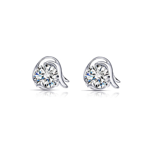 925 Sterling Silver Twelve Horoscope Capricorn Stud Earrings with White Cubic Zircon