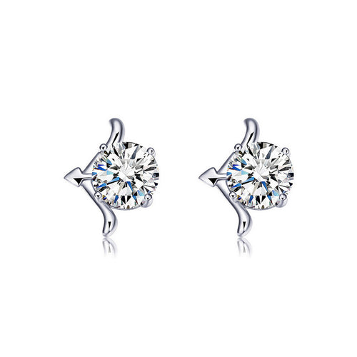925 Sterling Silver Twelve Horoscope Sagittarius Stud Earrings with White Cubic Zircon