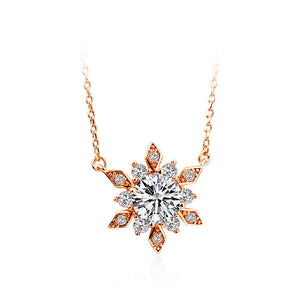 Fashion Plated Rose Gold Snowflakes Necklace with White Cubic Zircon