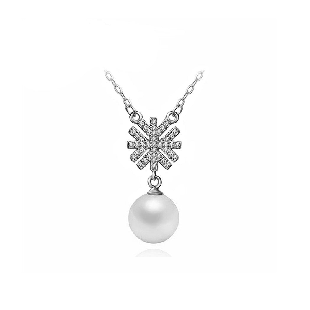 925 Sterling Silver Snowflake Necklace with White Fashion Pearl