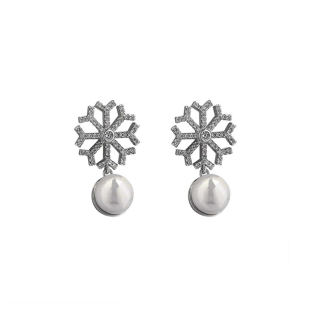 925 Sterling Silver Snowflake Earrings with White Fashion Pearl