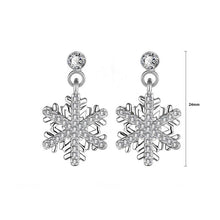 Load image into Gallery viewer, Simple Snowflakes Earrings with White Austrian Element Crystal