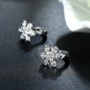 Simple Snowflakes Earrings with White Austrian Element Crystal