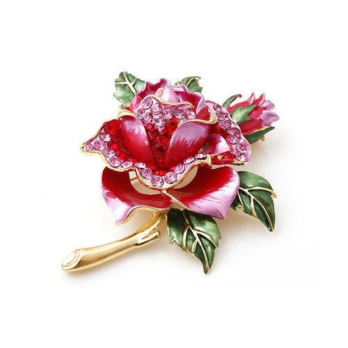 Beautiful Rose Flower Brooch with Red Austrian Element Crystal