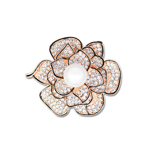 Elegant Rose Brooch with White Austrian Element Crystal and Fashion Pearl