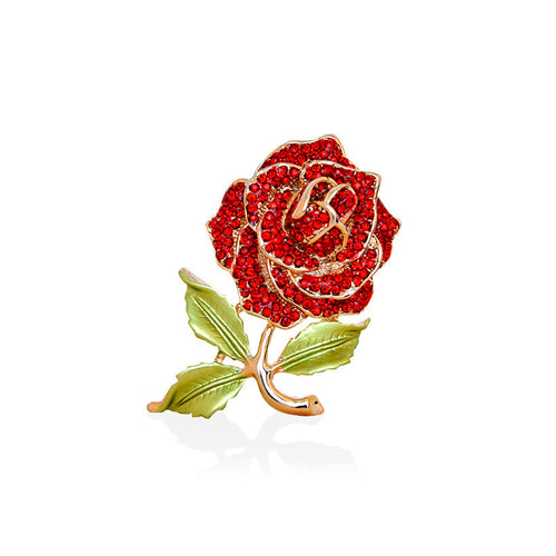 Pretty Rose Brooch with Red Austrian Element Crystal