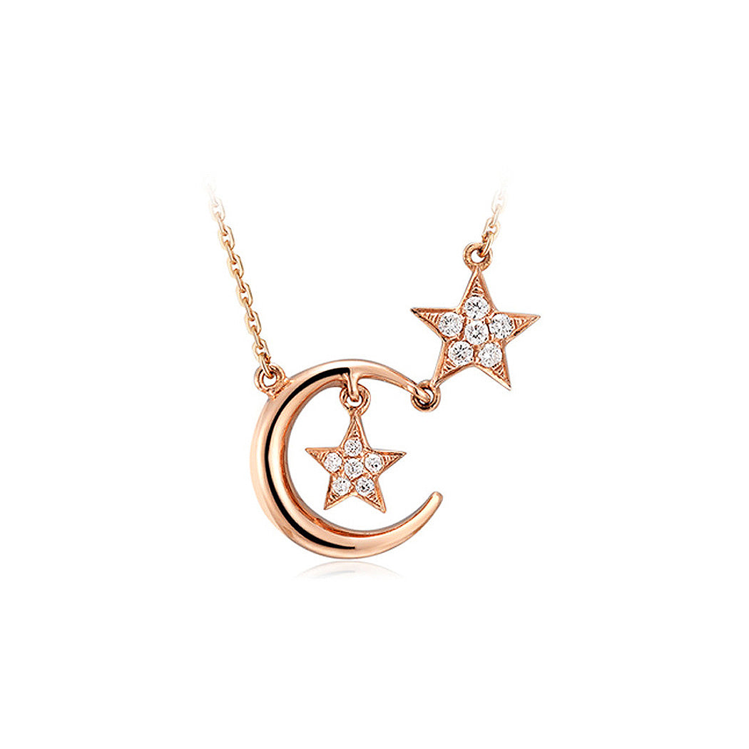 925 Sterling Silver Plated Rose Gold Star Necklace with White Austrian Element Crystal