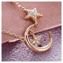 Load image into Gallery viewer, 925 Sterling Silver Plated Rose Gold Star Necklace with White Austrian Element Crystal