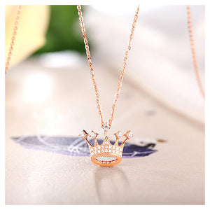 Fashion Plated Rose Gold Crown Pendant with White Austrian Element Crystal and Necklace