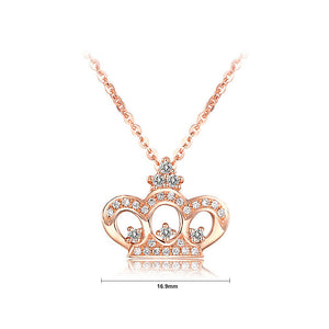 925 Sterling Silver Crown Pendant with White Austrian Element Crystal and Necklace