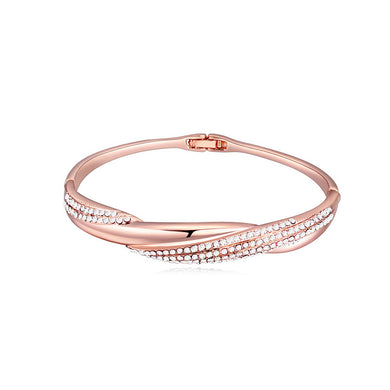 Simple Plated Rose Gold Bangle with White Austrian Element Crystal