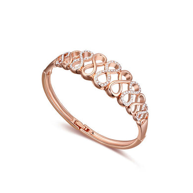 Fashion Plated Rose Gold Bangle with White Austrian Element Crystal
