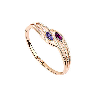Sparkling Plated Rose Gold Bangle with Purple Austrian Element Crystal