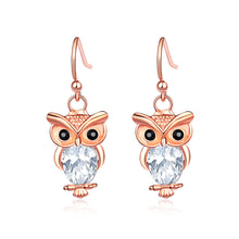 Load image into Gallery viewer, Cute Owl Earrings with White Austrian Element Crystal