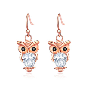 Cute Owl Earrings with White Austrian Element Crystal