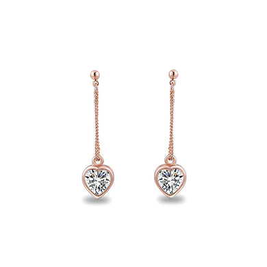 Simple Plated Gold Rose Earrings with White Austrian Element Crystal