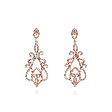 Retro Pattern Earrings with White Austrian Element Crystal