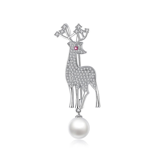 Sparkling Deer Brooch with White Cubic Zircon and Fashion Pearl
