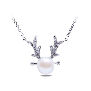 925 Sterling Silver Elk Necklace with White Freshwater Cultured Pearl