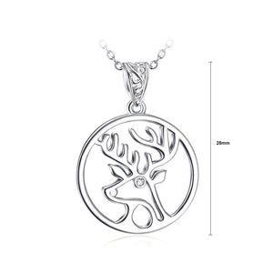 925 Sterling Silver Elk Pendant with White Austrian Element Crystal and Necklace