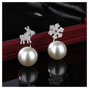 925 Sterling Silver Deer Snow Earrings with Fashion Pearls