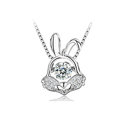 925 Sterling Silver Zodiac Rabbit Pendant with Necklace
