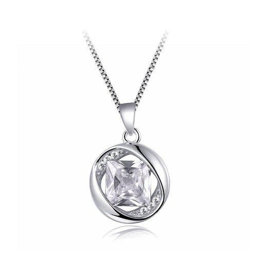 925 Sterling Silver April Birthday Stone Pendant with White Cubic Zircon and Necklace