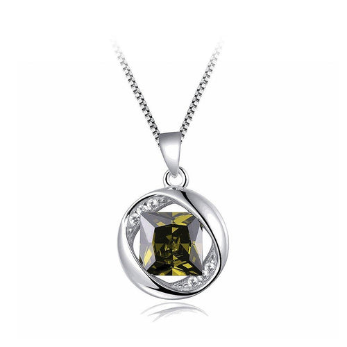 925 Sterling Silver August Birthday Stone Pendant with Green Cubic Zircon and Necklace