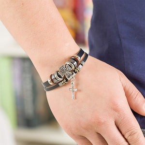 Retro Christian Cross Bracelet
