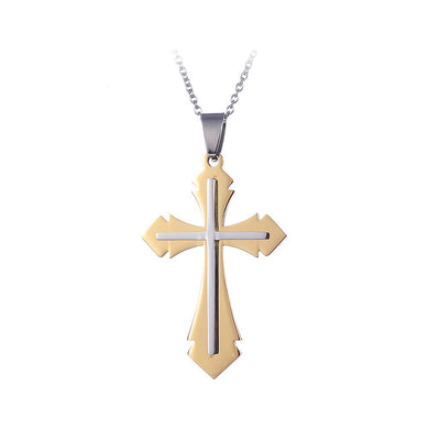Fashion Christian Cross Stainless Stainless Steel Pendant with Necklace