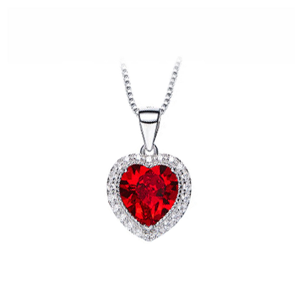 January Birthday Stone Heart Pendant with Red Cubic Zircon and Necklace