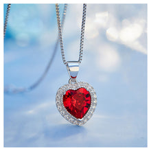 Load image into Gallery viewer, January Birthday Stone Heart Pendant with Red Cubic Zircon and Necklace