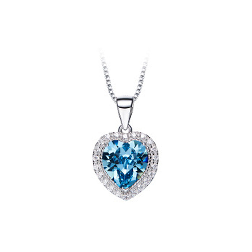 March Birthstone Heart Pendant with Blue Cubic Zircon and Necklace