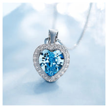 Load image into Gallery viewer, March Birthstone Heart Pendant with Blue Cubic Zircon and Necklace