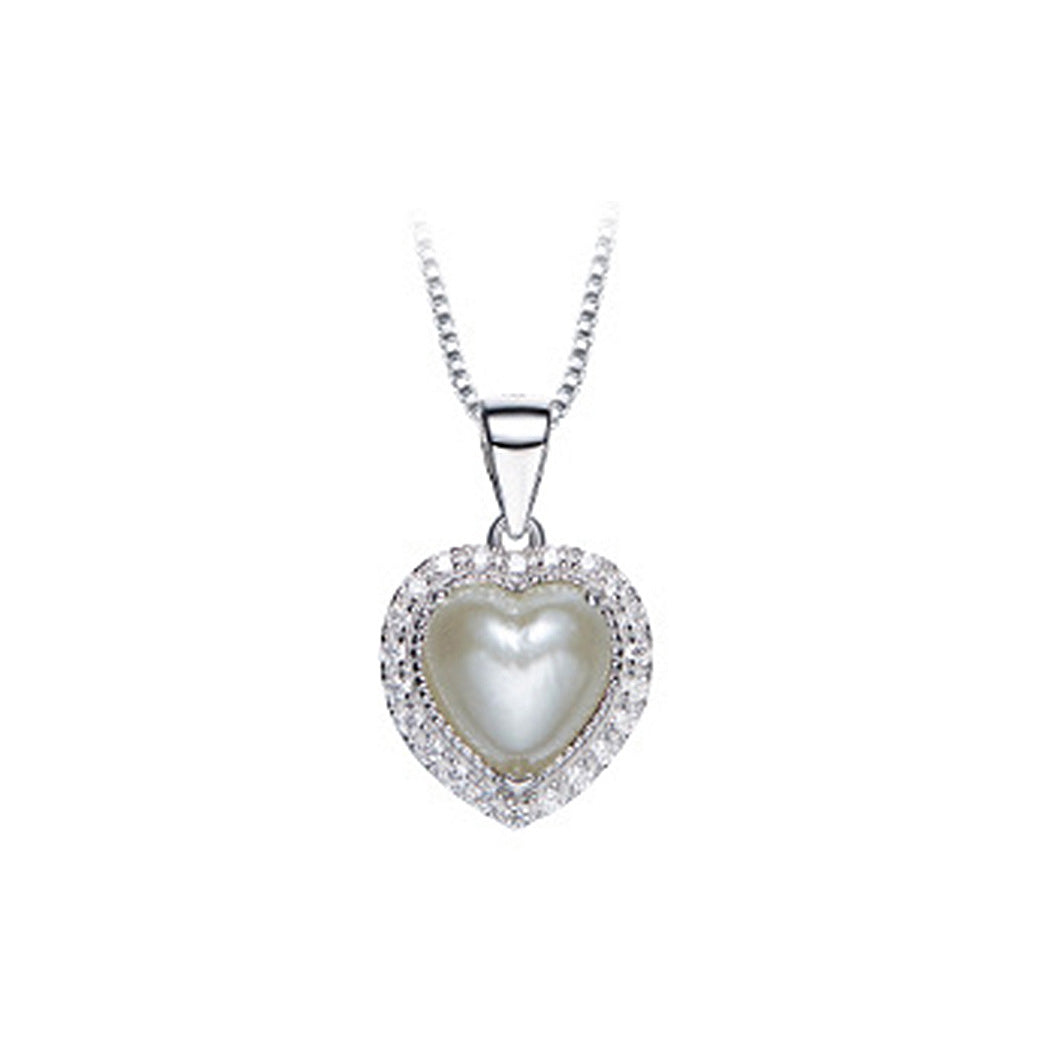 June Birthday Stone White Heart Pendants with Cubic Zircons and Necklaces