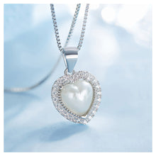 Load image into Gallery viewer, June Birthday Stone White Heart Pendants with Cubic Zircons and Necklaces