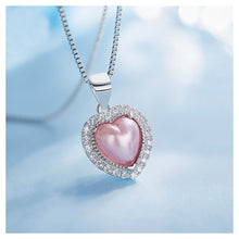 Load image into Gallery viewer, July Birthday Stone Pink Heart Pendant with Cubic Zircon and Necklace