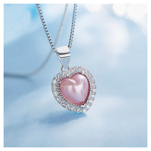 July Birthday Stone Pink Heart Pendant with Cubic Zircon and Necklace
