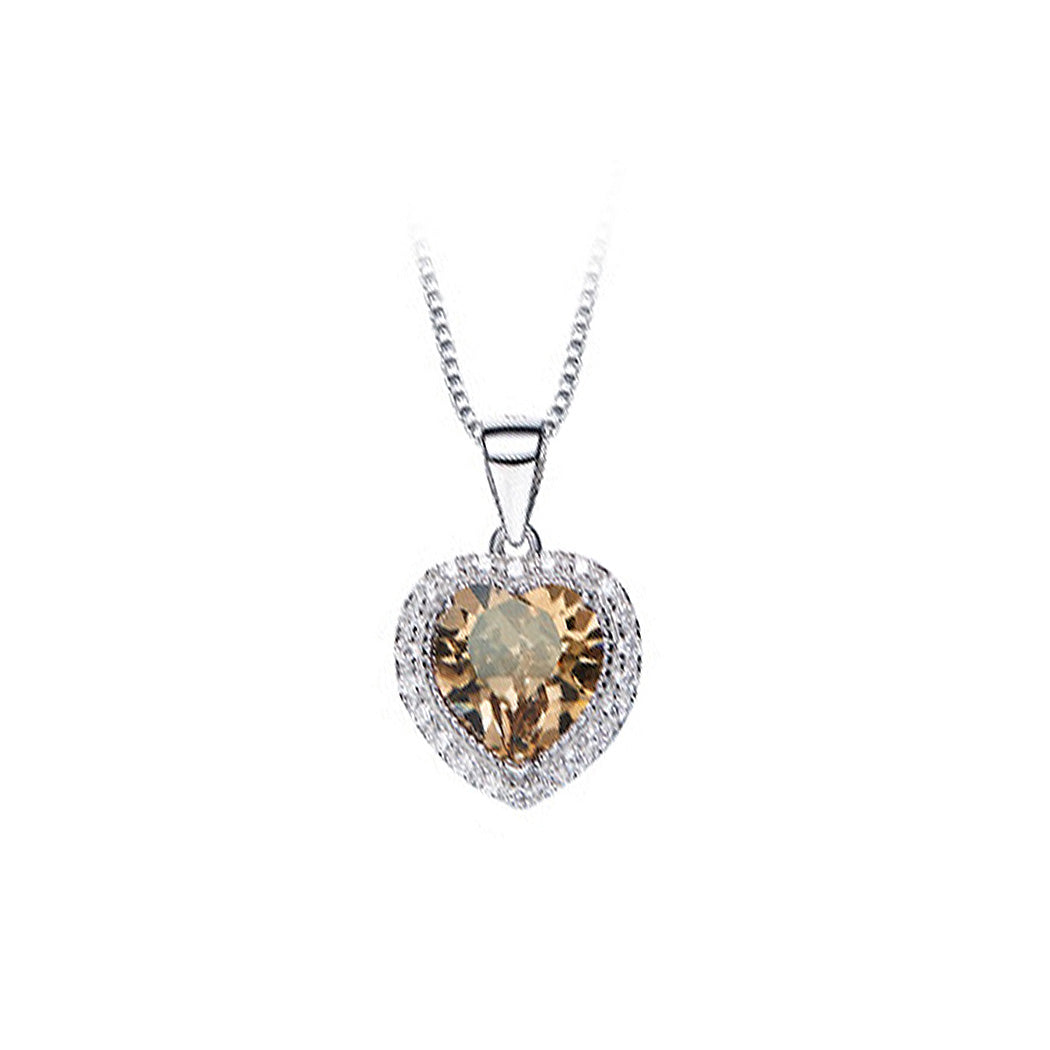 August Birthday Stone Heart Pendant with Champagne Gold Cubic Zircon and Necklace