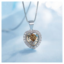 Load image into Gallery viewer, August Birthday Stone Heart Pendant with Champagne Gold Cubic Zircon and Necklace