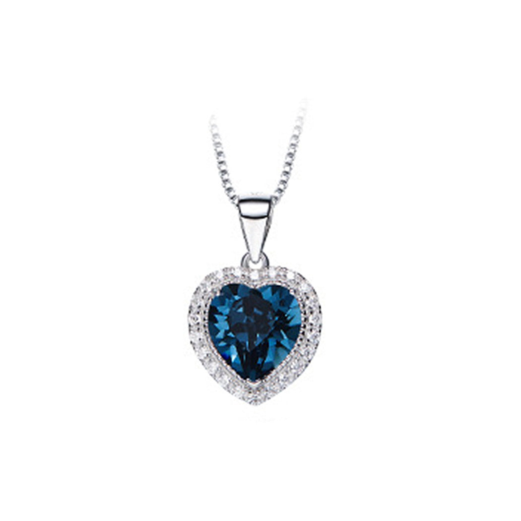 September Birthday Stone Heart Pendant with Blue Cubic Zircon and Necklace
