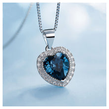 Load image into Gallery viewer, September Birthday Stone Heart Pendant with Blue Cubic Zircon and Necklace