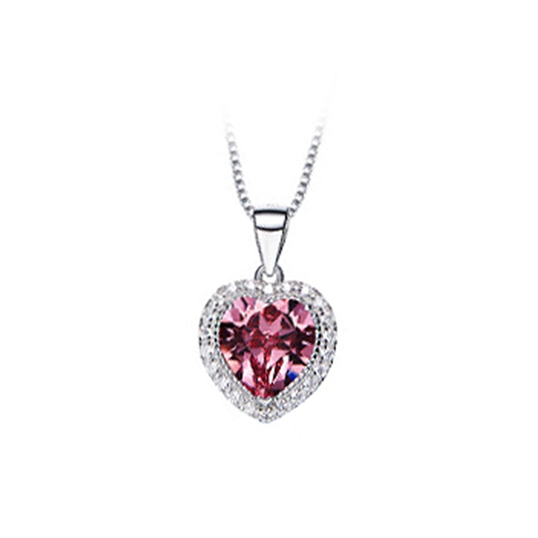 October Birthday Stone Heart Pendants with Rose Red Cubic Zircon and Necklace