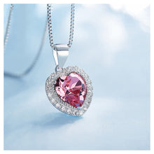 Load image into Gallery viewer, October Birthday Stone Heart Pendants with Rose Red Cubic Zircon and Necklace
