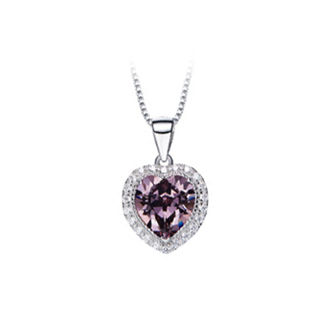 November Birthday Stone Heart Pendants with Purple Cubic Zircon and Necklace