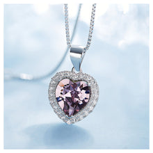 Load image into Gallery viewer, November Birthday Stone Heart Pendants with Purple Cubic Zircon and Necklace