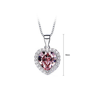 December Birthday Stone Heart Pendant with Pink Cubic Zircon and Necklace