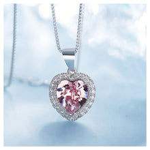 Load image into Gallery viewer, December Birthday Stone Heart Pendant with Pink Cubic Zircon and Necklace