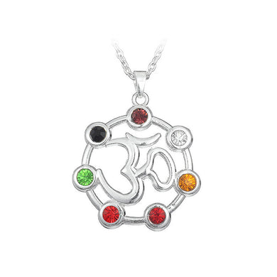 Fashion Hindu Chiffon Pendant with Colorful Austrian Element Crystal and Necklace